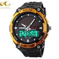 LANCARDO Men Solar Power Sports Watches Stopwatch Quartz Digital Watch Alarm Stopwatch Dual Time Zones Relogios Masculinos