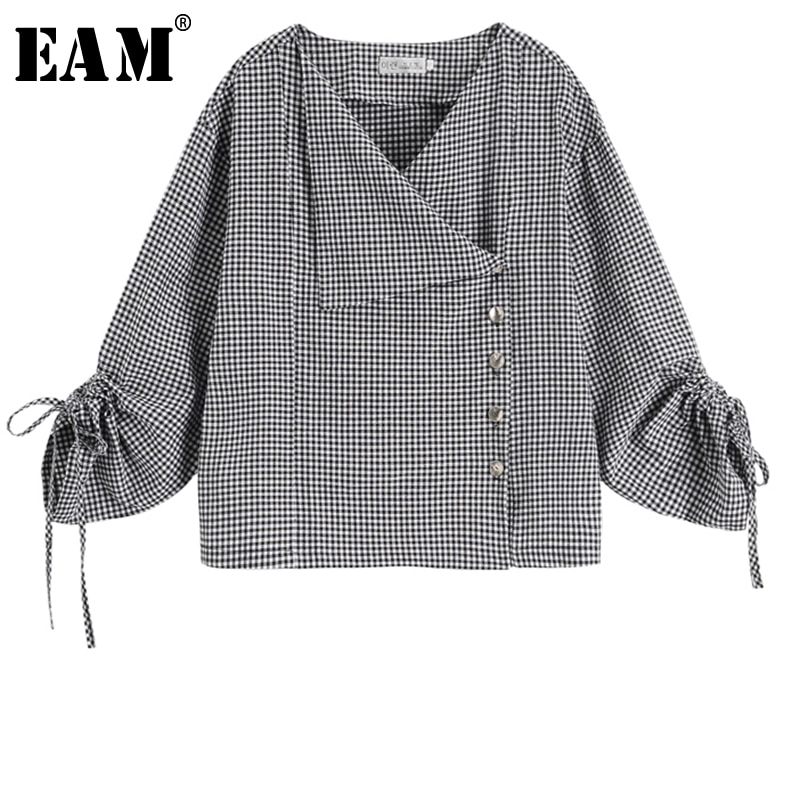 [EAM] novedad de primavera otoño 2020, Blusa de manga larga con cuello en V, botón de madeja negra, camisa holgada con cordón, blusa para mujer, tendencia a la moda JT640