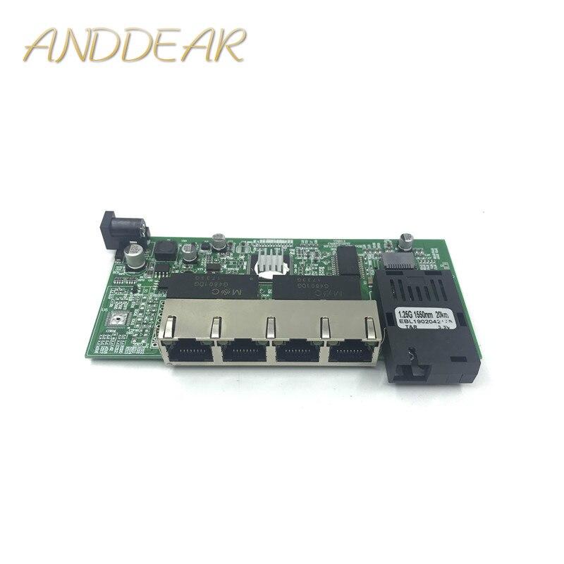 10/100/1000M Gigabit Ethernet switch convertisseur de médias optiques Mode unique 4 RJ45 UTP et 1 SFP fibre Port carte mère PCB