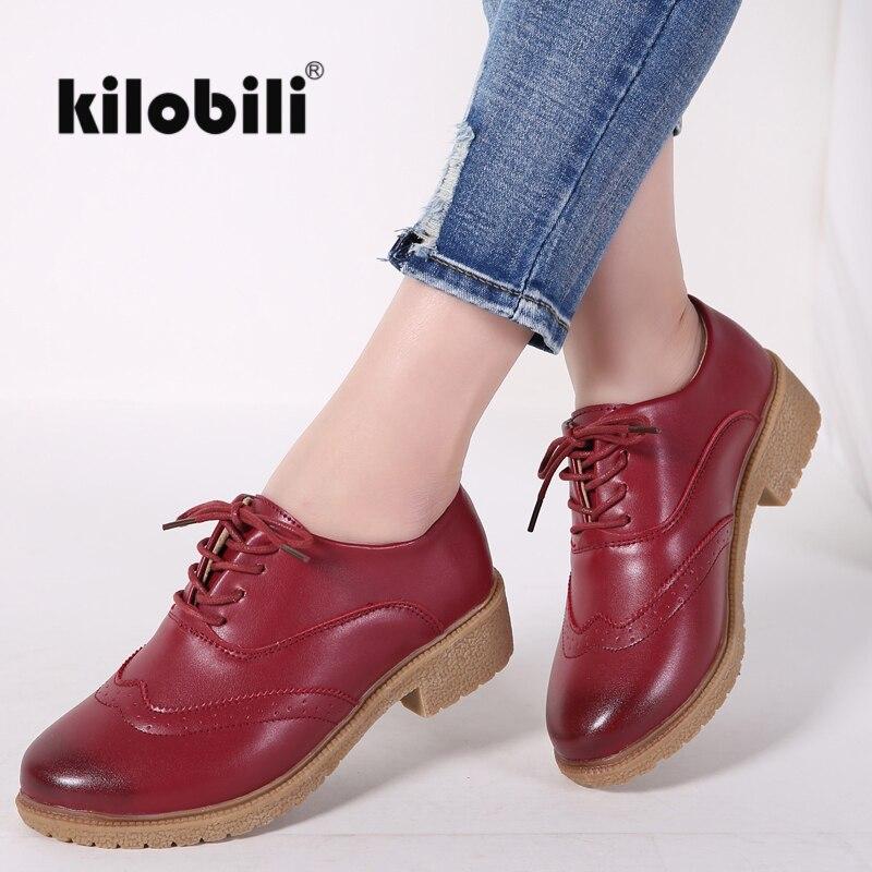 Kilobili 2018 Printemps Femmes Chaussures Oxford chaussures plates Femmes PU En Cuir à lacets décontracté bateau chaussures bout pointu Chaussures Mocassins Femmes