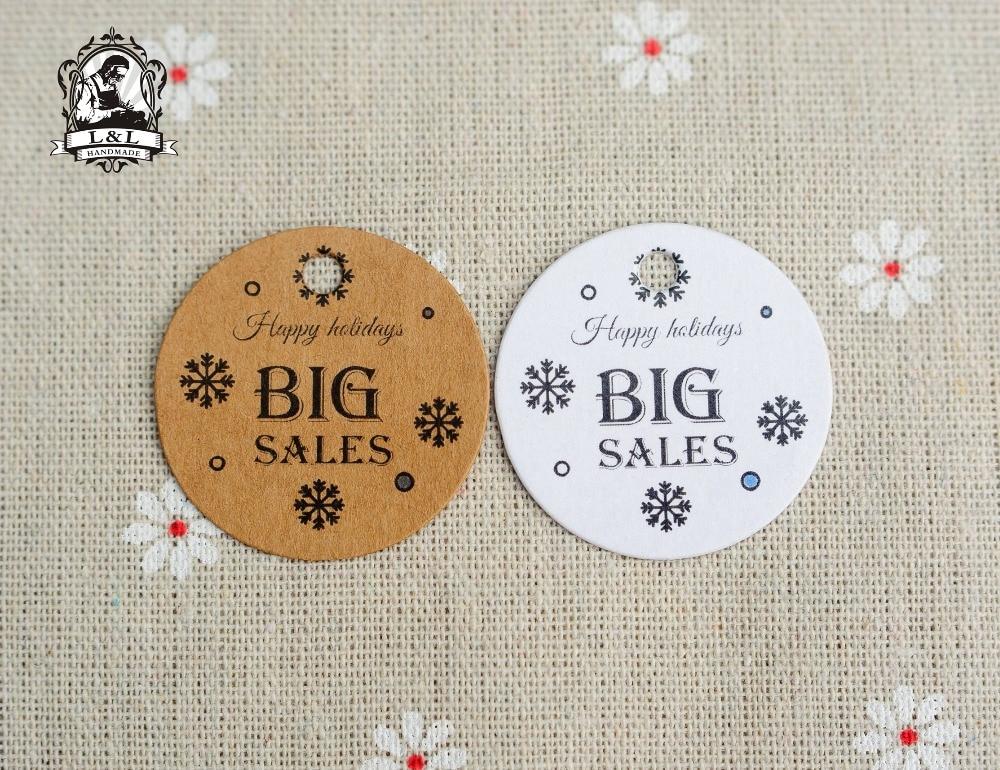 Etiquetas redondas de papel kraft/blanco de 200 Uds. De 3,5 cm, gran venta de etiquetas de productos, descuentos de vacaciones, etiquetas de ropa, personalización