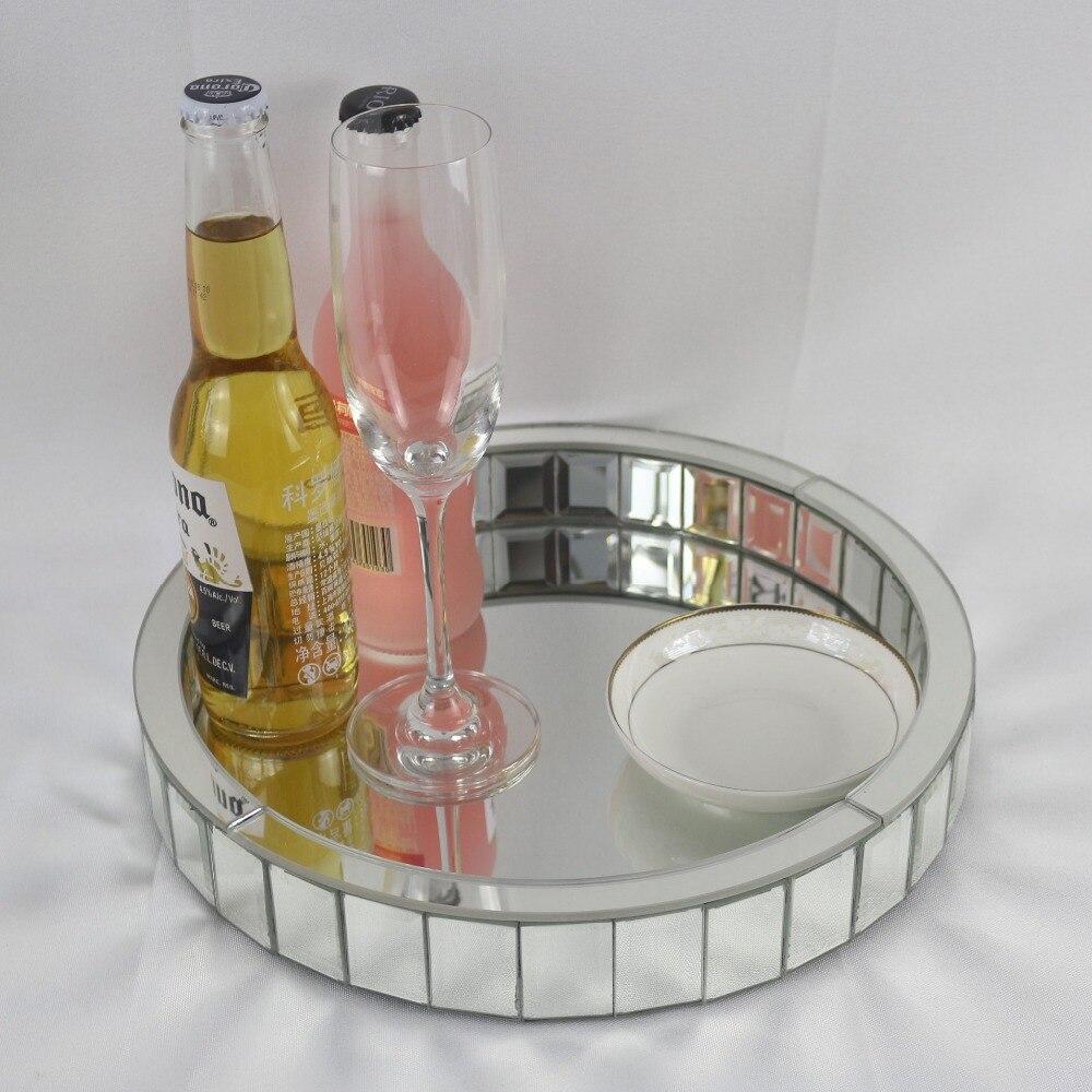 Bandeja de vino moderna con espejo bandeja plato de fruta decoración de boda bandeja redonda bandeja de almacenamiento de maquillaje