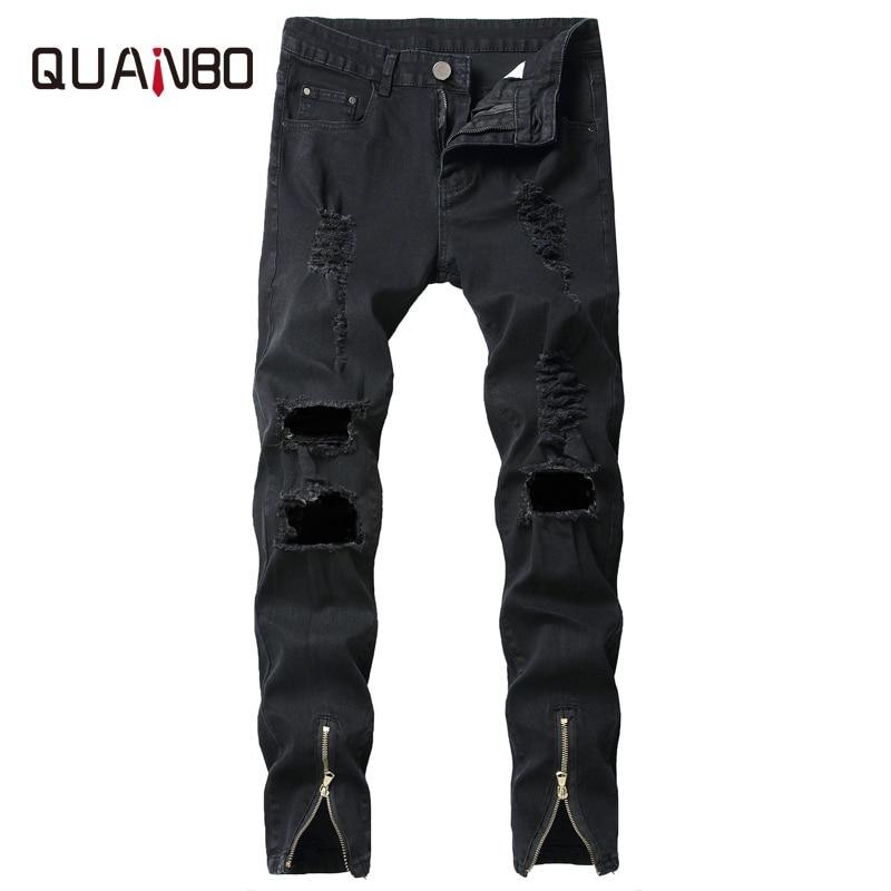 QUANBO 2019 nuevo agujero rasgado Streetwear Denim Pantalones moda Stretchs Slim pierna apertura cremallera Jeans marca hombres negro Jeans