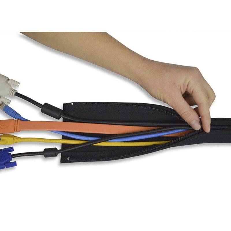 DIY neopreno funda organizadora de cables cierre de cremallera envoltura de alambre cordón Hider cubierta sistema organizador para PC/TV/oficina/teléfono