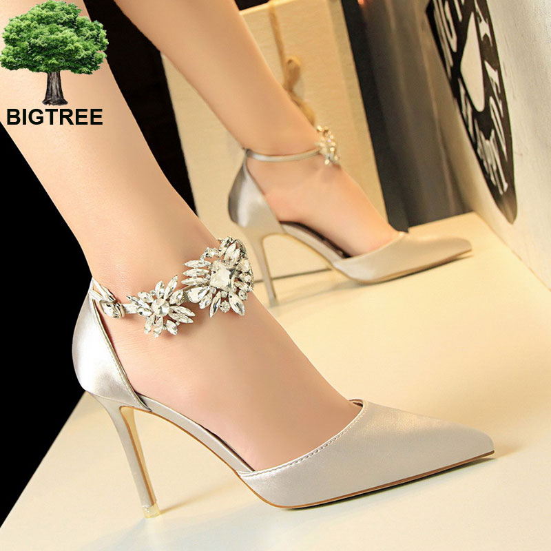 BIGTREE Mature Crystal Buckle Women's Wedding Shoes Show Thin Pointed Toe Women Pumps Solid Silk Shallow High Heels Shoes