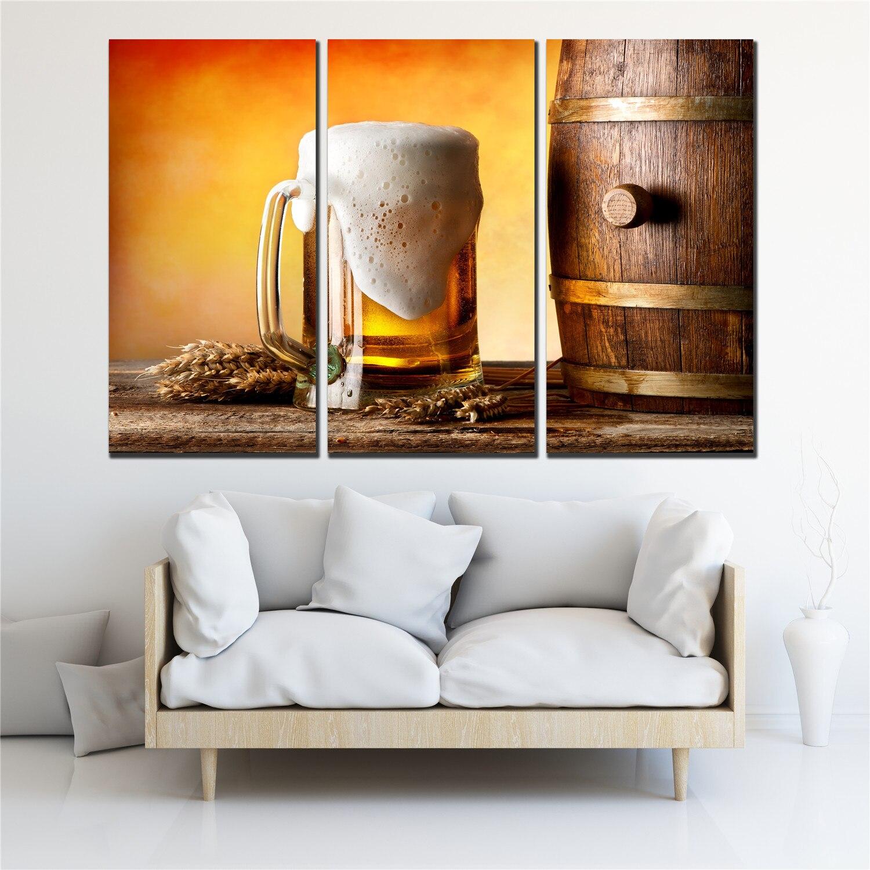 Carteles nostálgicos lienzo impreso pintura 3 piezas barril cerveza cartel pared imagen para sala de estar cafetería bar sala de estar SL-031