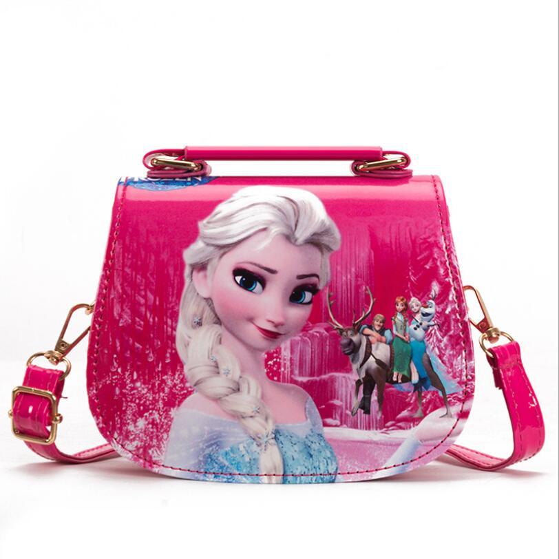 Moda PU princesa Elsa bolso lindo Mini BOLSA niños bolsos mensajeros de dibujos animados para niñas niños Tote chicas bolsos de hombro