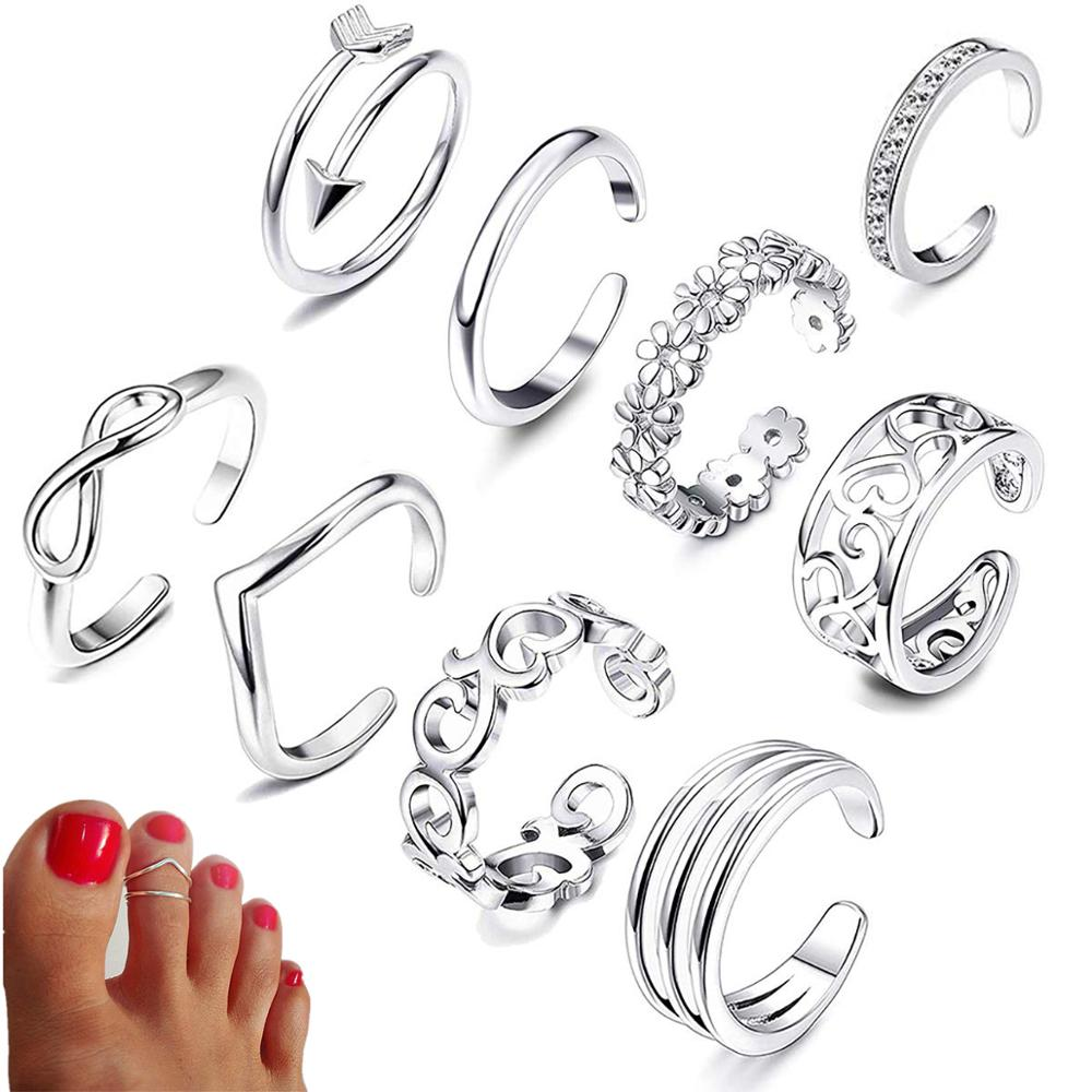 9PCS Summer Beach Vacation Knuckle Foot Ring Open Toe Rings Set for Women Girls Finger Heart Ring Ad