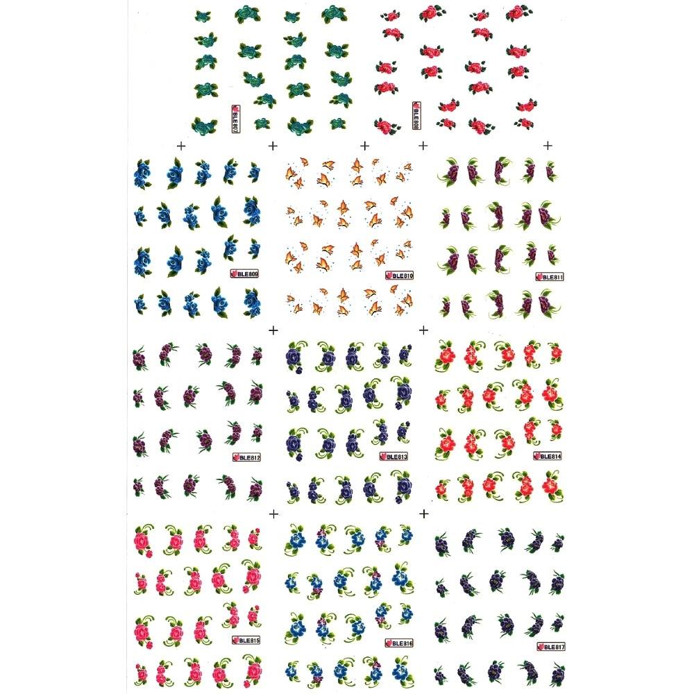 11 paquetes/lote UPRETTEGO arte de uñas belleza agua calcomanía deslizador uñas pegatina CHINA ASTER YARROW bacaheris BLE807-817