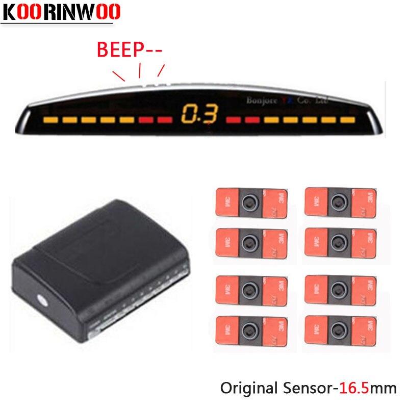 Koorinwoo núcleo duplo cpu sensores de estacionamento do carro 8 radares 4 frente traseira 4 sondas parktronic sistema detector automático auxiliar jalousie