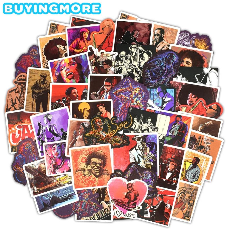 50 шт., наклейка в стиле джаз-блюз, рок-музыка, саксофон, пение, граффити, самодельный музыкальный инструмент, автомобиль, ноутбук, гитара, чемо...