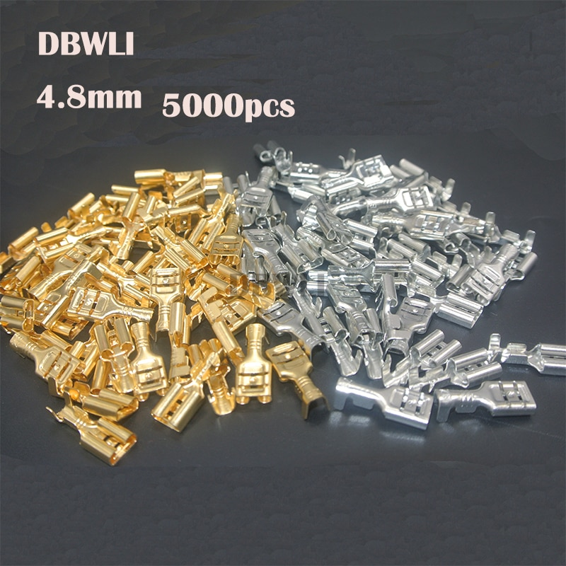 5000 pces 4.8mm 4.8 friso terminal fêmea spade conector terminais de friso frio imprensa terminal