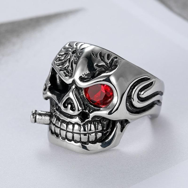 Gótico cráneo fumador cabeza anillo de los hombres con Circonia cúbica roja ojo Punk Acero inoxidable chicos para hombre anillos de esqueleto hombre joyería Dropshipping. Exclusivo.