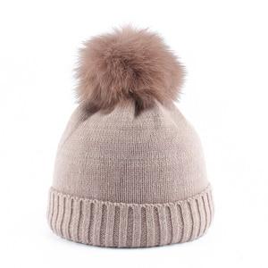 mink and fox fur ball cap pom poms winter hat for children boy girl 's hat kids baby Wool knitted beanies caps