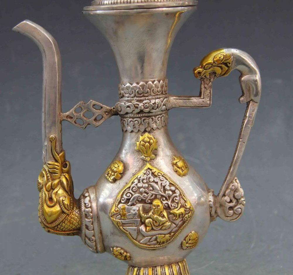 10 branco cobre bronze prata monkey passeio elefante flagon chaleira bule de vinho pote