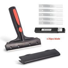 FOSHIO Multi herramienta de limpieza de vinilo manejado raspador + 25 uds cuchillo de hoja de vidrio tinte de ventanilla limpiador escurridor película de envoltura de coche herramienta de pegatina