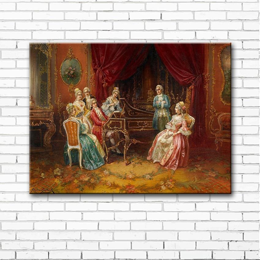 Figura de corte clásica nobility, fiesta de música, pintura al óleo, impresiones en lienzo, imágenes decorativas para el hogar
