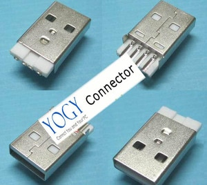 Free Shipping 50pcs Male USB 2.0 Jack Connector Socket White