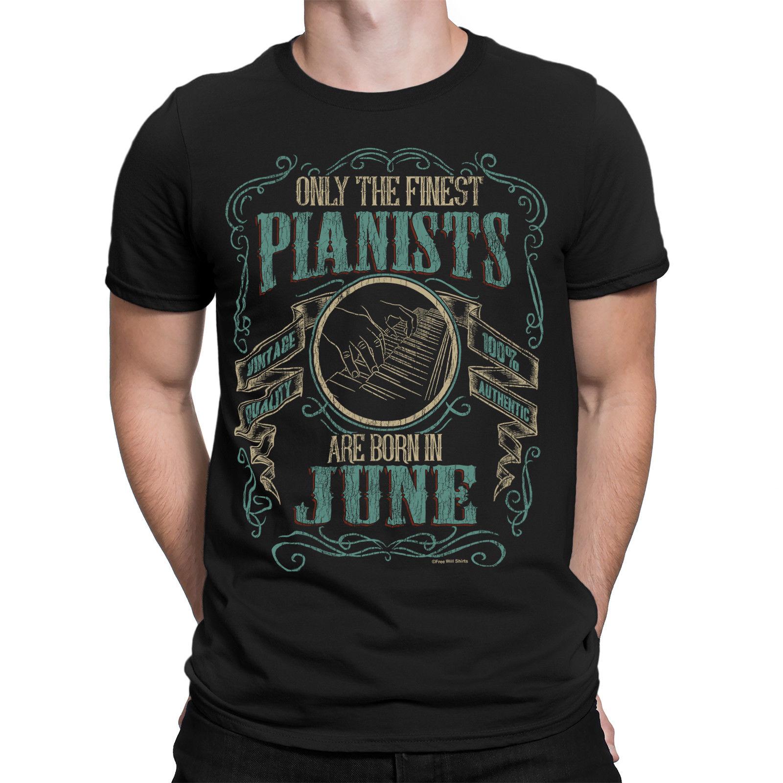 Мужская футболка с пианино, крутая футболка с пианистами, летняя футболка для дня рождения и дня рождения, 2019