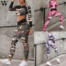 Femmes femmes survêtement été décontracté 2 pièce mode Sexy Camouflage imprimé à manches longues taille haute haut + sport mince vacances J620