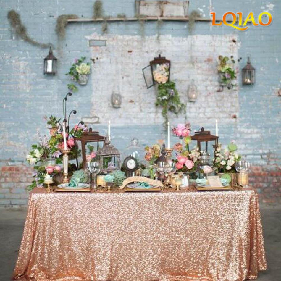 Mantel Rectangular de lentejuela con purpurina rosa dorada de 2019 pulgadas x 132 pulgadas para mantel de pastel de boda, mantel de lentejuelas para decoración de mesa