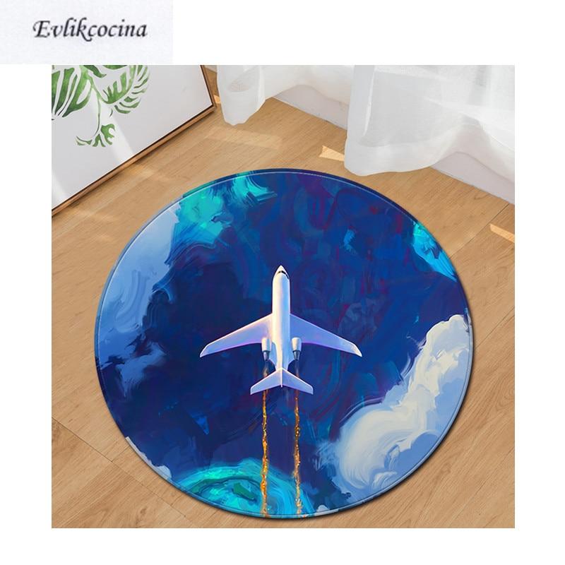 Alfombra de baño redonda no antideslizante absorbente de dibujos animados de avión con envío gratis, alfombra de área para sala de estar, alfombra para piso de habitación, Tapete Infantil