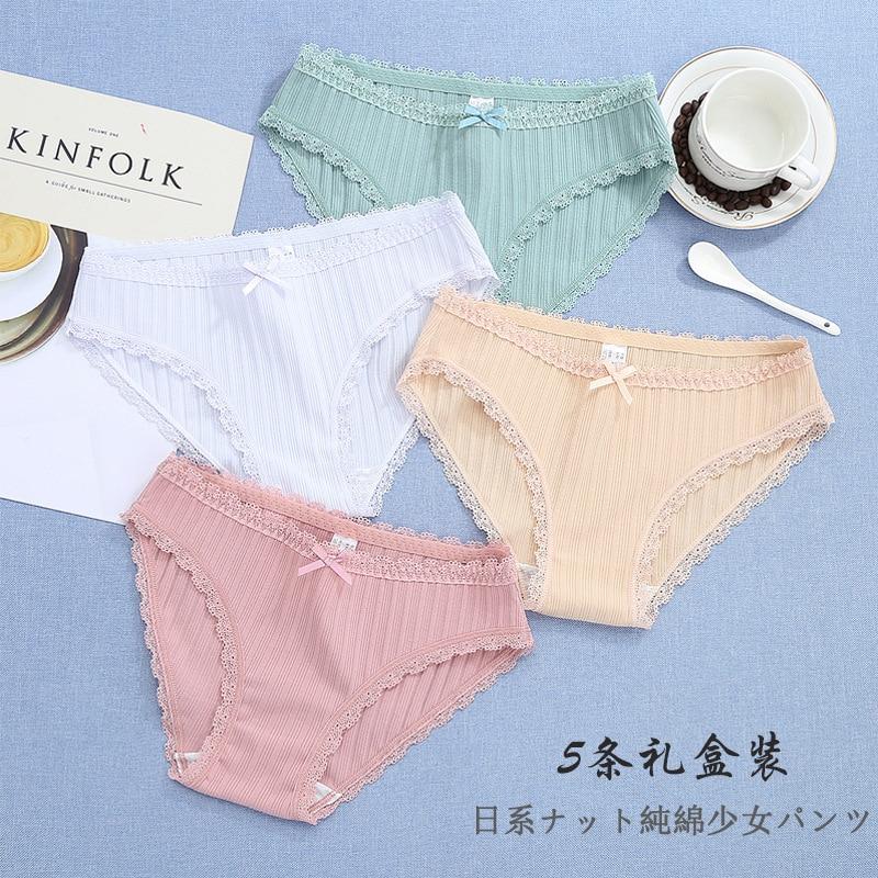[5PC per box] fresh thread cotton cotton ladies underwear lace triangle briefs beautiful comfortable skinny underwear intimate enlarge