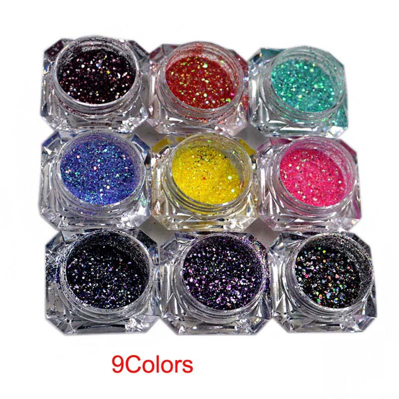 1set /9 boxes 9 Mix Colors Glitter -  iridescent Glitter -  Mix Size Holographic Chunky Glitter Mix - Crafting - Nail Glitter