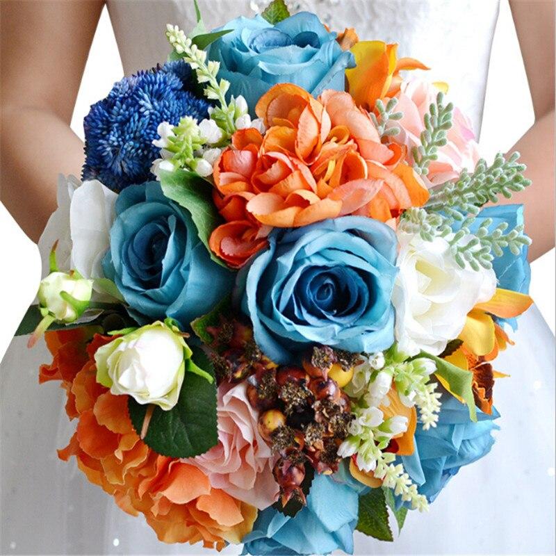 باقة عباد الشمس من الورد الأزرق ، باقة اصطناعية لوصيفات العروس ، للزفاف ، مجموعة جديدة