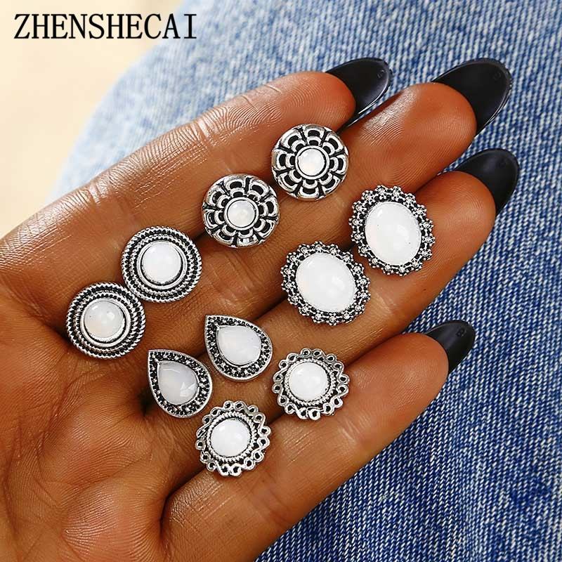 Neue Vintage stil 5 paare/satz Frauen Kristall Stud Ohrringe für Frauen mädchen Boucle D'oreille Ohrring Schmuck großhandel e0162