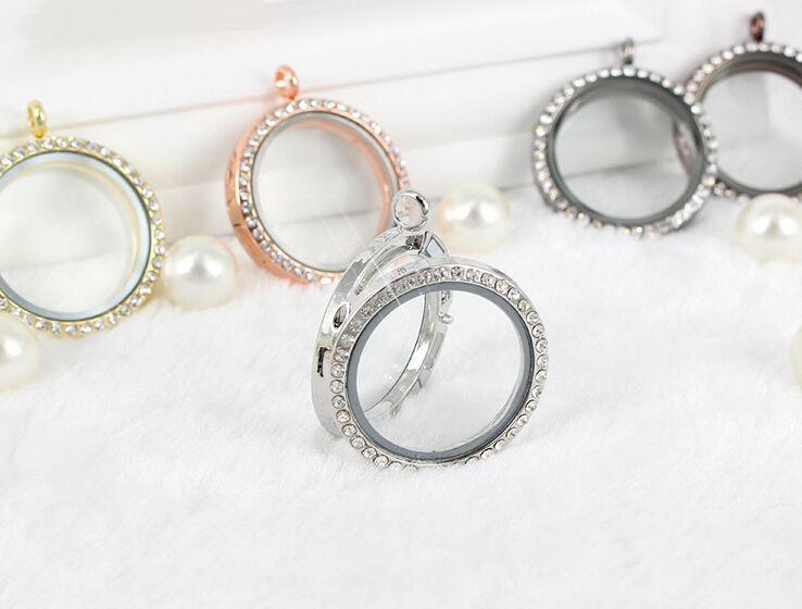10 unids/lote 30MM cristal redondo magnético vivo memoria flotante medallón colgante joyas fabricación