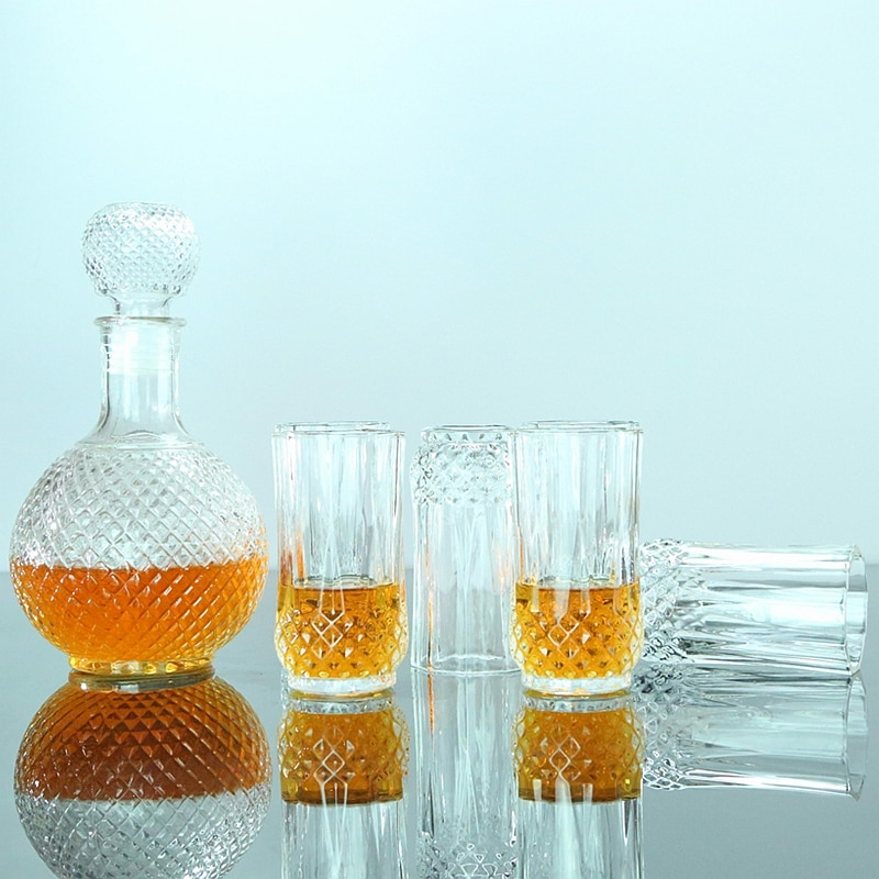 Lead-free glass Diamond Crystal wine glass Cup set Goblet whiskey brandy Glass cup and wine decanter Household drinkware