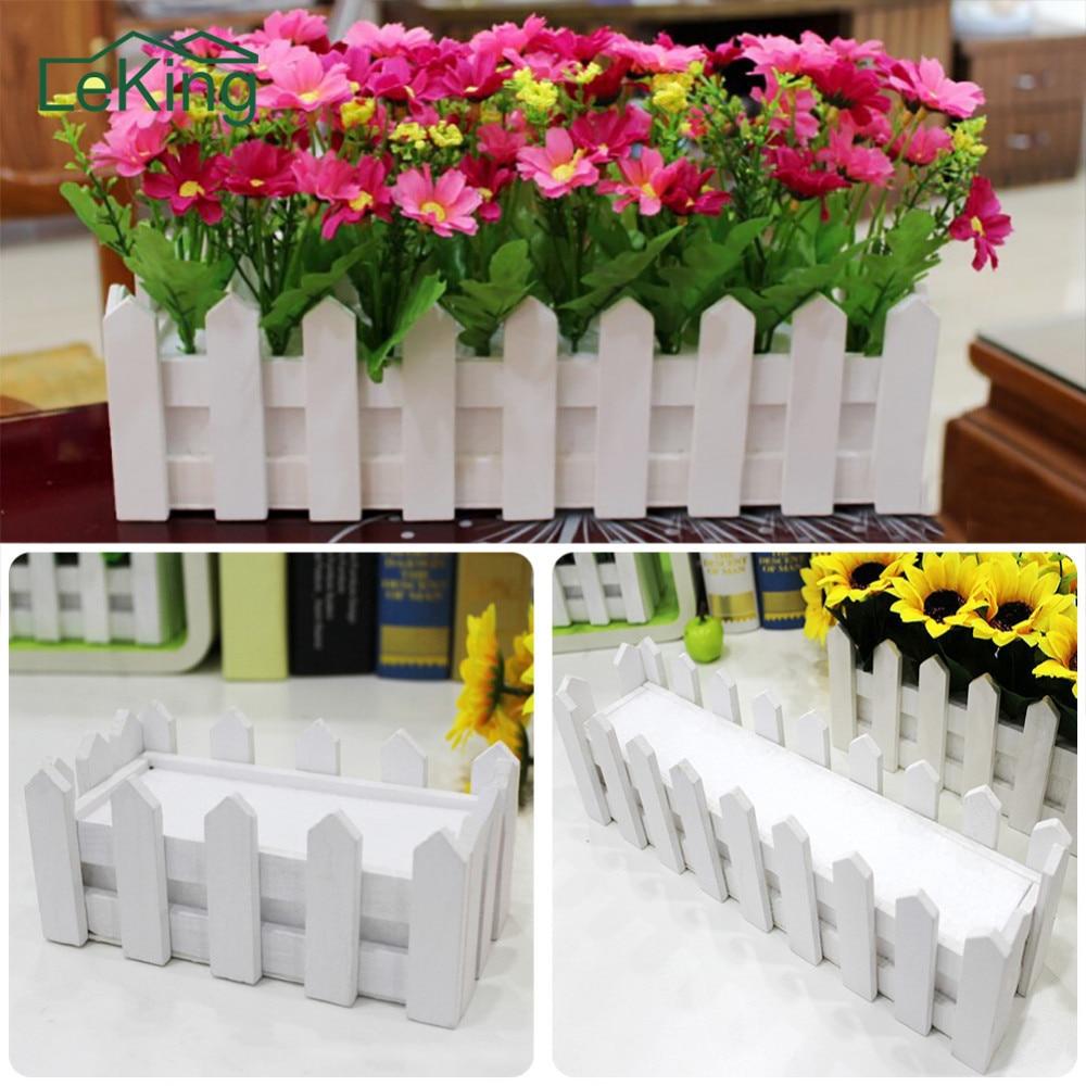 Белый деревянный забор пасторальный цветочный горшок вертикальные садовые горшки товары для искусственных цветы для дома и сада свадебное украшение