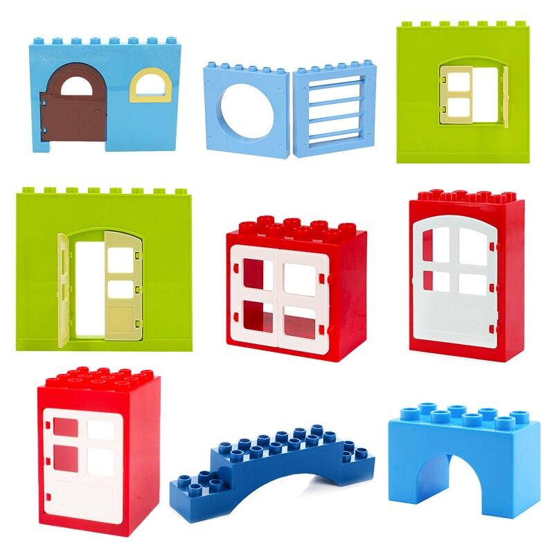 Big Building Blocks Accessory City House Architecture Wall Door Window Bridge Brick Compatible Big Size Toys For Children Gift недорого