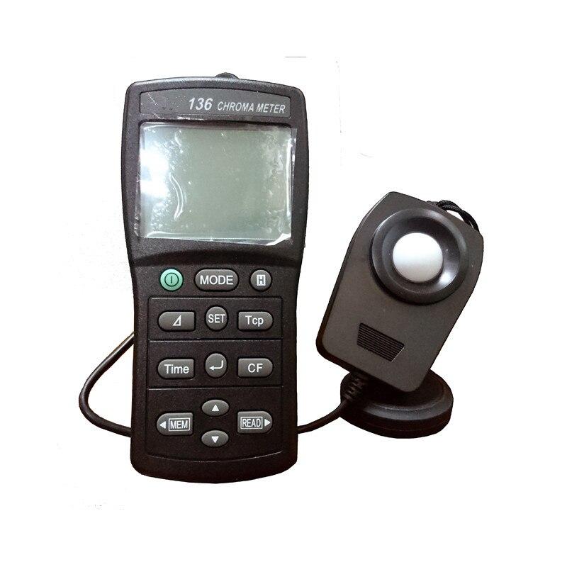 Gran venta iluminómetro de Color de alta calidad TES136 medidor de croma 0,1 a 99990 lx Digital portátil medidor de datos