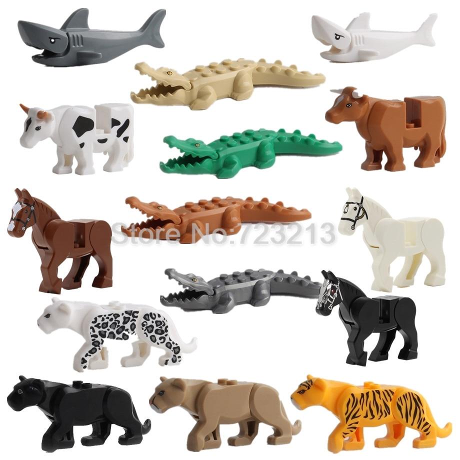 1pc Panther Snow Leopard Crocodile Tiger Animal Cow Cattle Horse Wolf Building Block Set MOC Model Brick kit Brick Toy