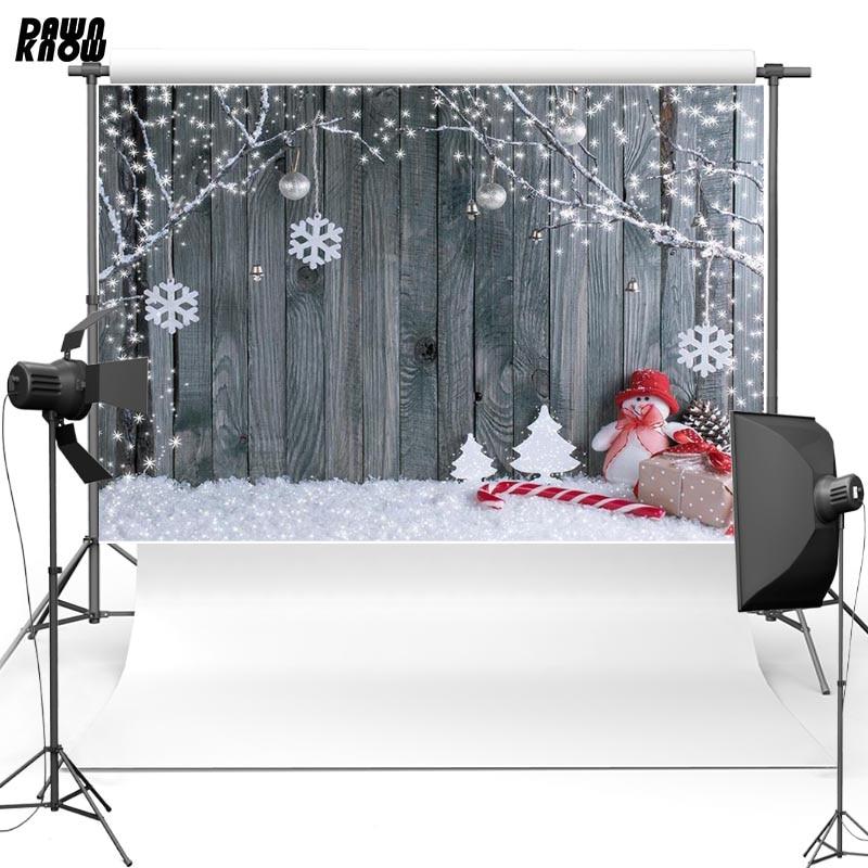 Виниловый фон для фотосъемки детей с изображением снежинок дощатый пол снег