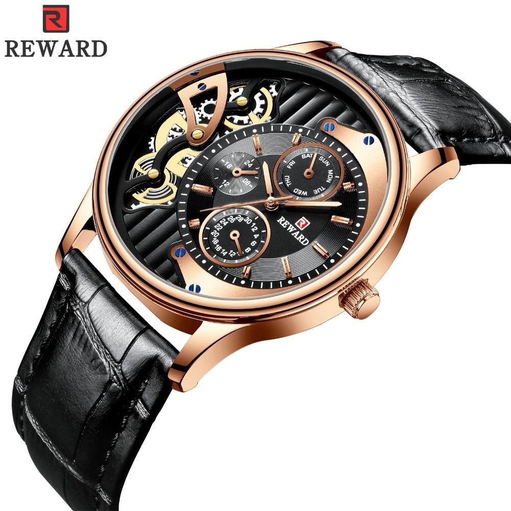 Reloj de cuarzo con diseño de esqueleto de recompensa para Hombre, relojes de pulsera clásicos de oro rosa para Hombre, calendario resistente al agua, 24 horas, Reloj para Hombre, triangulación de envíos