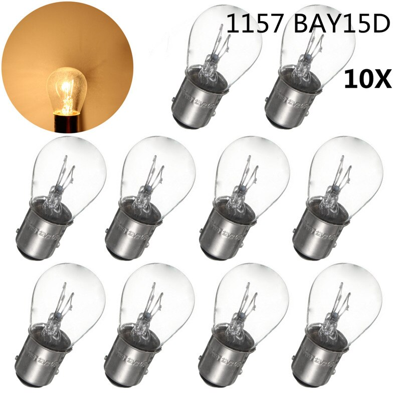 10 Uds 380 BAY15D 1157 21/5W vidrio blanco Natural doble filamento blanco cálido coche DRL Stop luces de freno bombilla halógena DC 12V