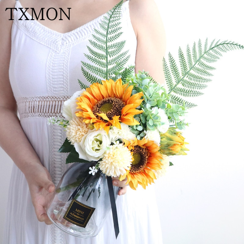 flores artificiales TXMON girasol simulación sol falso ramo + florero hogar sala grande adorno decoración boda Mesa flor arreglo