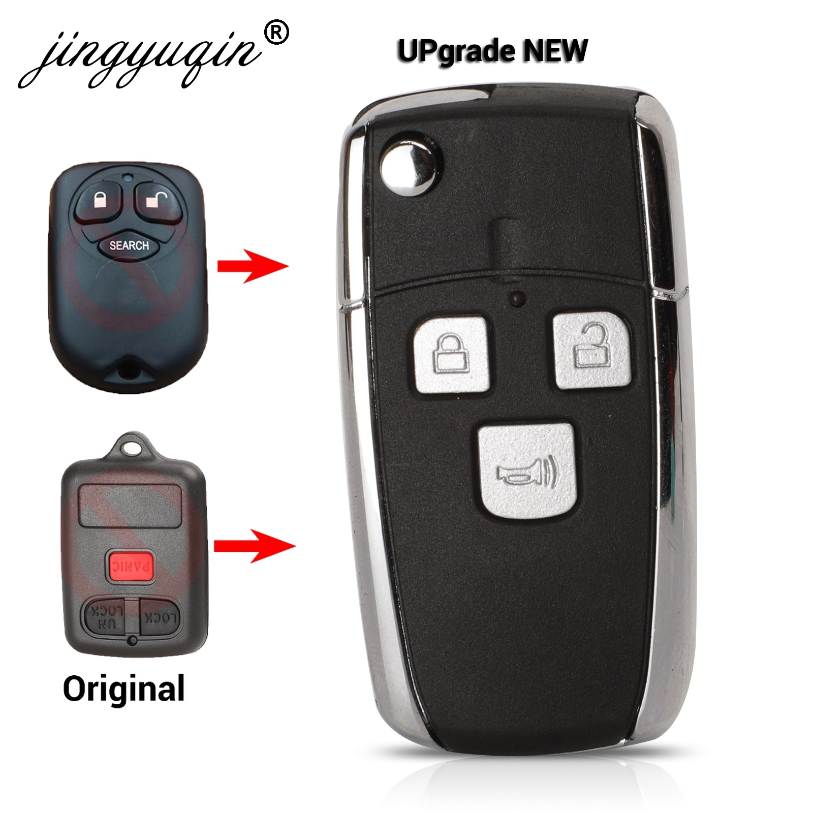 Jingyuqin modificado remoto Flip Key Shell para BYD F3 F3R Fit Toyota Vios 3 botones Fob sin llave transmisor de entrada de la caja de la llave del coche