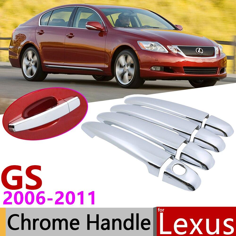 Para Lexus GS S190 2006 ~ 2011 cromado cubierta de la manija de la puerta Exterior accesorios de coche pegatinas Set de 4 puertas 2007, 2008, 2009, 2010