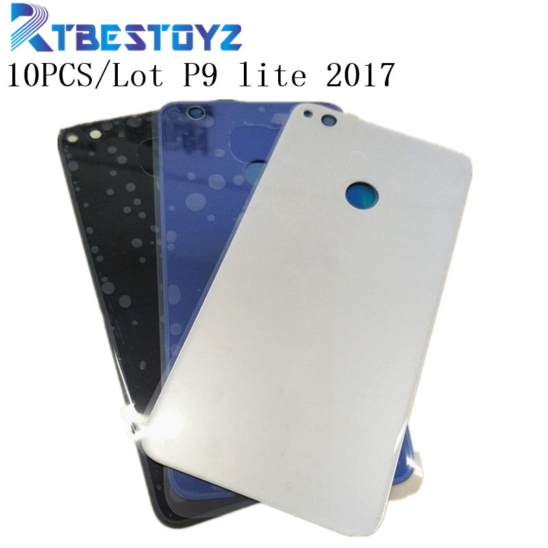 RTBESTOYZ 10 قطعة جديد غطاء البطارية الباب الإسكان حالة الخلفية الزجاج استبدال إصلاح أجزاء لهواوي P9 لايت 2017 PRA-LX1 PRA-LX3