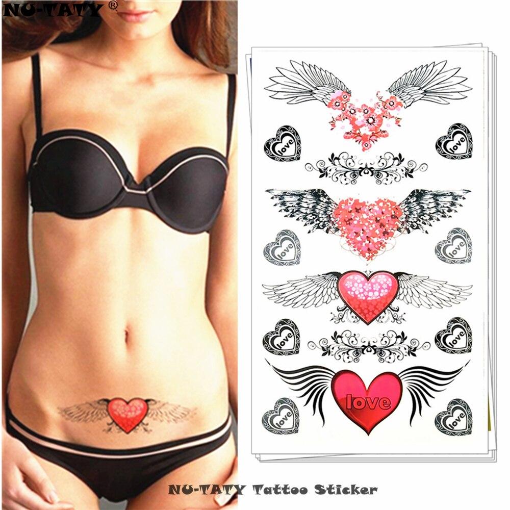 Alas de Ángel de Nu-TATY, tatuaje temporal de corazón de amor, tatuaje para el brazo de arte corporal, pegatinas de tatuaje de Henna resistente al agua de 17*10 cm, sin dolor