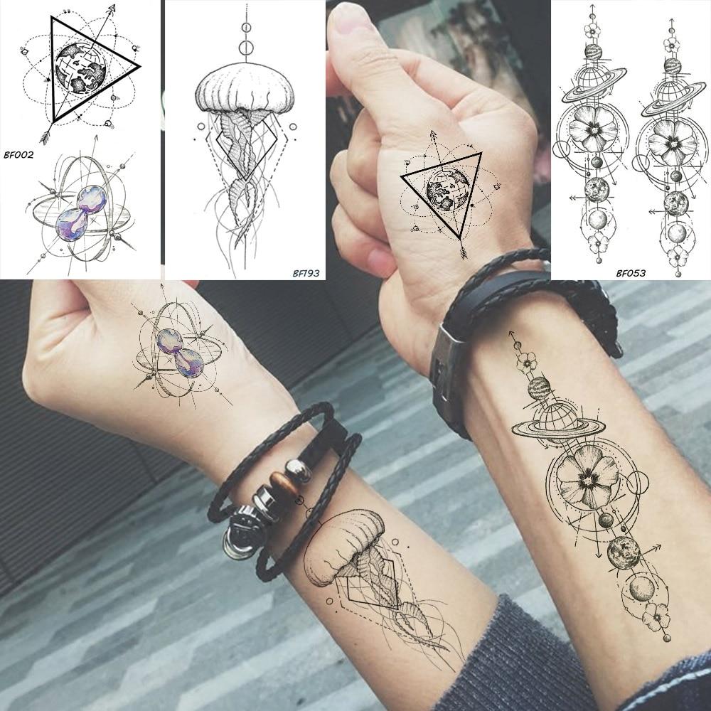 Baofuli pegatina temporal impermeable planeta geométrico medusas tatuaje negro triángulo tatuajes cuerpo brazo hombres tatuajes falsos cadenas