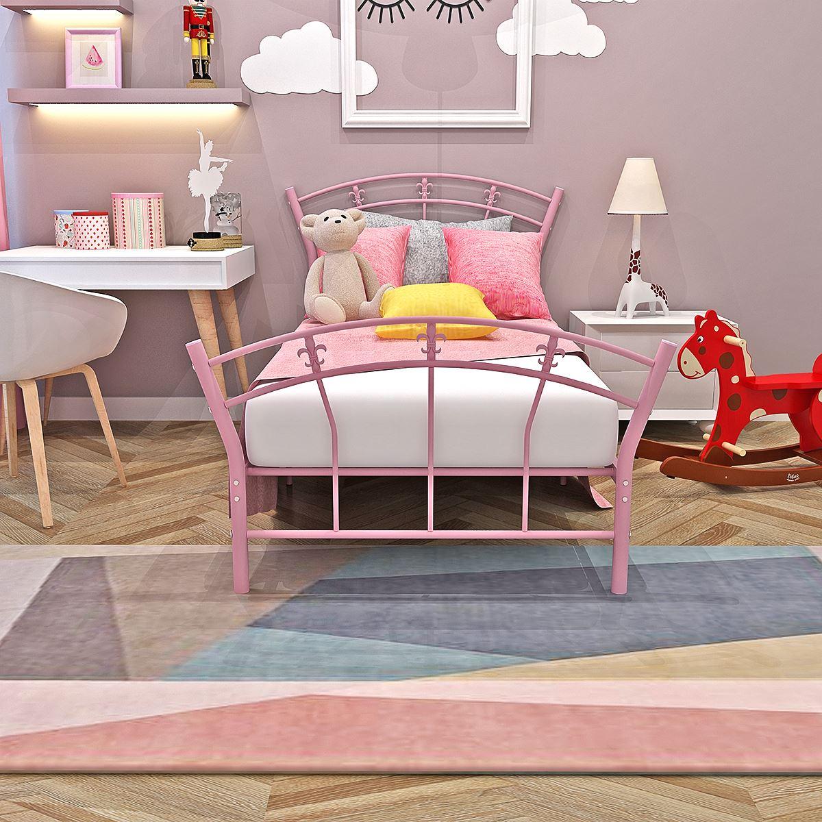 Los niños cama de Metal marco Rosa chico 3FT única chica Base de la cama de muebles de princesa para dormitorio ventilador en forma de cabecera entrega rápida