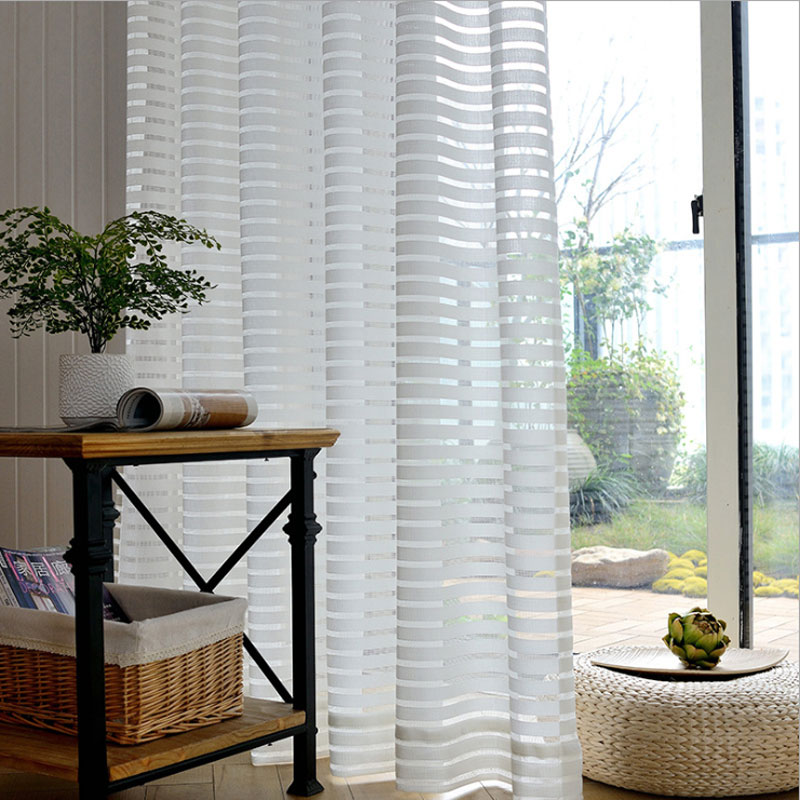 Cortinas para sala de estar de tul con ventana de rayas modernas, cortinas transparentes de gasa blanca para dormitorio, cortinas para niños, Panel de tamaño personalizado