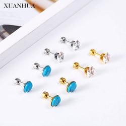 Xuanhua charme brincos de cristal para mulheres jóias de aço inoxidável mulher vogue 2019 jóias finas acessórios boêmio