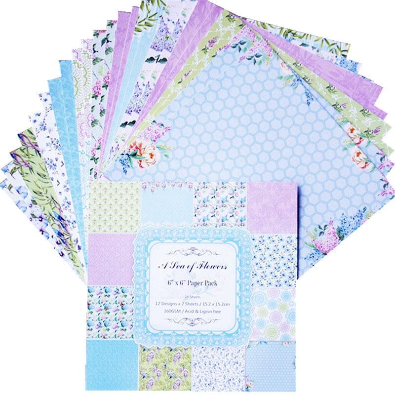 24 unids/pack 6*6*6 pulgadas un guisante de flores papel Pack Scrapbooking DIY planificador feliz tarjeta haciendo diario del proyecto