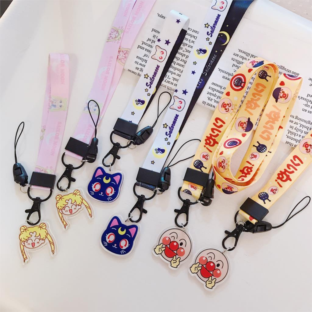 Marinheiro lua luna gato anpanman cor-de-rosa panther padrão pescoço/alça de pulso para o telefone móvel correias da câmera chaves pendurar corda